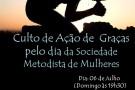 Convite: Culto de Ação de Graças pelo dia da Sociedade Metodista de Mulheres em Mantena