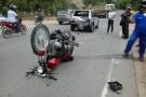 PM registra grave acidente entre moto e Fiat Uno próximo ao presídio de Barra de São Francisco