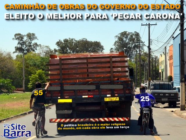 SiteBarra - Pegando carona no caminhao de obras do governo do estado
