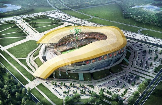 Estádio proposto em Rostov-on-Don. Localizado na margem esquerda do rio Don, é oposto ao certo da cidade (Foto: Divulgação)
