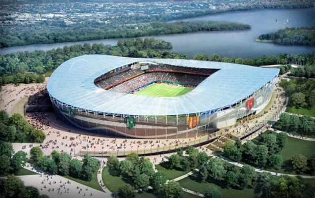 Este estádio em Kazan, para 45.015 pessoas, será do Rubin Kazan, clube que vem fazendo sucesso nos últimos anos. A arena será construída sobre o rio Volga (Foto: Divulgação)
