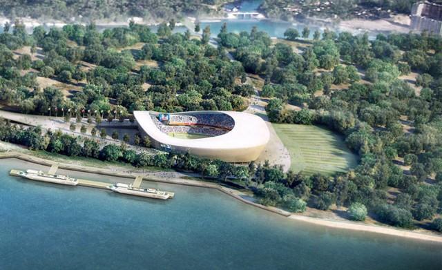 Estádio em Samara. Situado no encontro dos rios Volga e Samara, a arena para 44.918 mil pessoas ainda tem de ser construída (Foto: Divulgação)