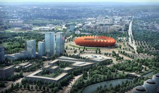 Estádio na pequena cidade de Saransk, com população de 300 mil habitantes, mas com a arena tendo capacidade para 45 mil pessoas (Foto: Divulgação)