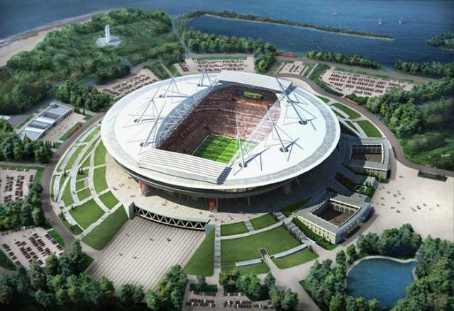 O Estádio em São Petesburgo estava previsto para ser finalizado em dezembro de 2008, mas ainda não foi concluído. O Zenit, que será dono da arena para 60 mil pessoas, ainda busca investidores para acabar a obra (Foto: Divulgação)