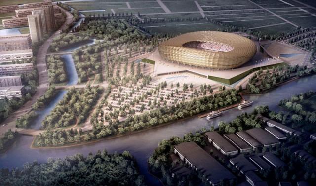 Estádio em Kaliningrado. Situado em uma ilha e com capacidade para 45.015 mil pessoas, o estádio está em uma região próxima à Polônia (Foto: Divulgação)
