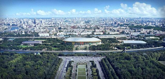 Principal estádio do país, o Luzhniki, em Moscou, será usado na Copa. Construído em 1956 e sede da final da Liga dos Campeões em 2008, entre Manchester United e Chelsea, o estádio passará por reformas e sua capacidade será de 89.318 pessoas (Foto: Divulgação)
