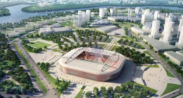 Estádio do Spartak Moscou, na capital russa. A construção era para ter começado dois anos atrás, mas a imagem deste estádio para 42 mil pessoas parece ainda longe da realidade. O Spartak, de mais de 70 anos da história, quer ter o seu estádio próprio (Foto: Divulgação)